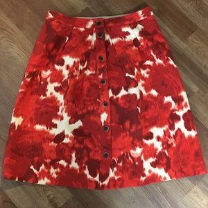 J. Crew Red Blur Wool Skirt